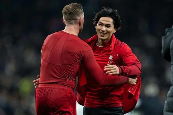 LONDON, ENGLAND - Saturday, January 11, 2020: Liverpool's new signing Japan international Takumi Minamino (R) celebrates with captain Jordan Henderson after the FA Premier League match between Tottenham Hotspur FC and Liverpool FC at the Tottenham Hotspur Stadium. Liverpool won 1-0. (Pic by David Rawcliffe/Propaganda)