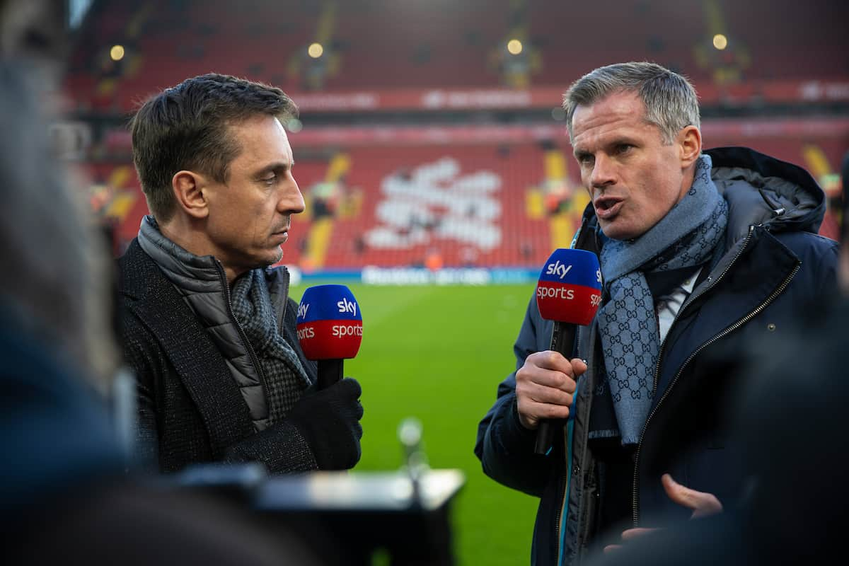 LIVERPOOL, ENGLAND - Sunday, January 19, 2020: Former Liverpool player Jamie Carragher (R) and former Manchester United player Gary Neville (L) working for Sky Sports before the FA Premier League match between Liverpool FC and Manchester United FC at Anfield. (Pic by David Rawcliffe/Propaganda)