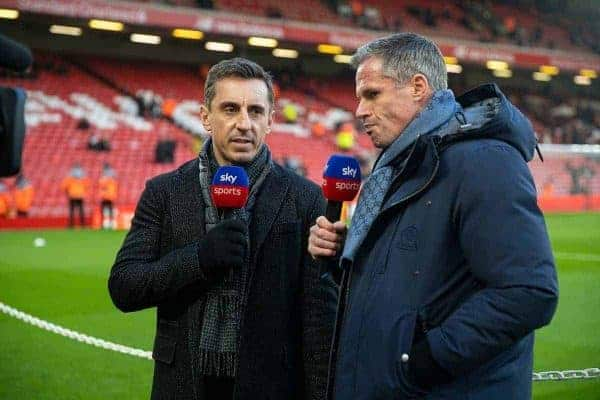 Former Liverpool player Jamie Carragher (R) and former Manchester United player Gary Neville (L) working for Sky Sports before the FA Premier League match between Liverpool FC and Manchester United FC at Anfield. (Pic by David Rawcliffe/Propaganda)