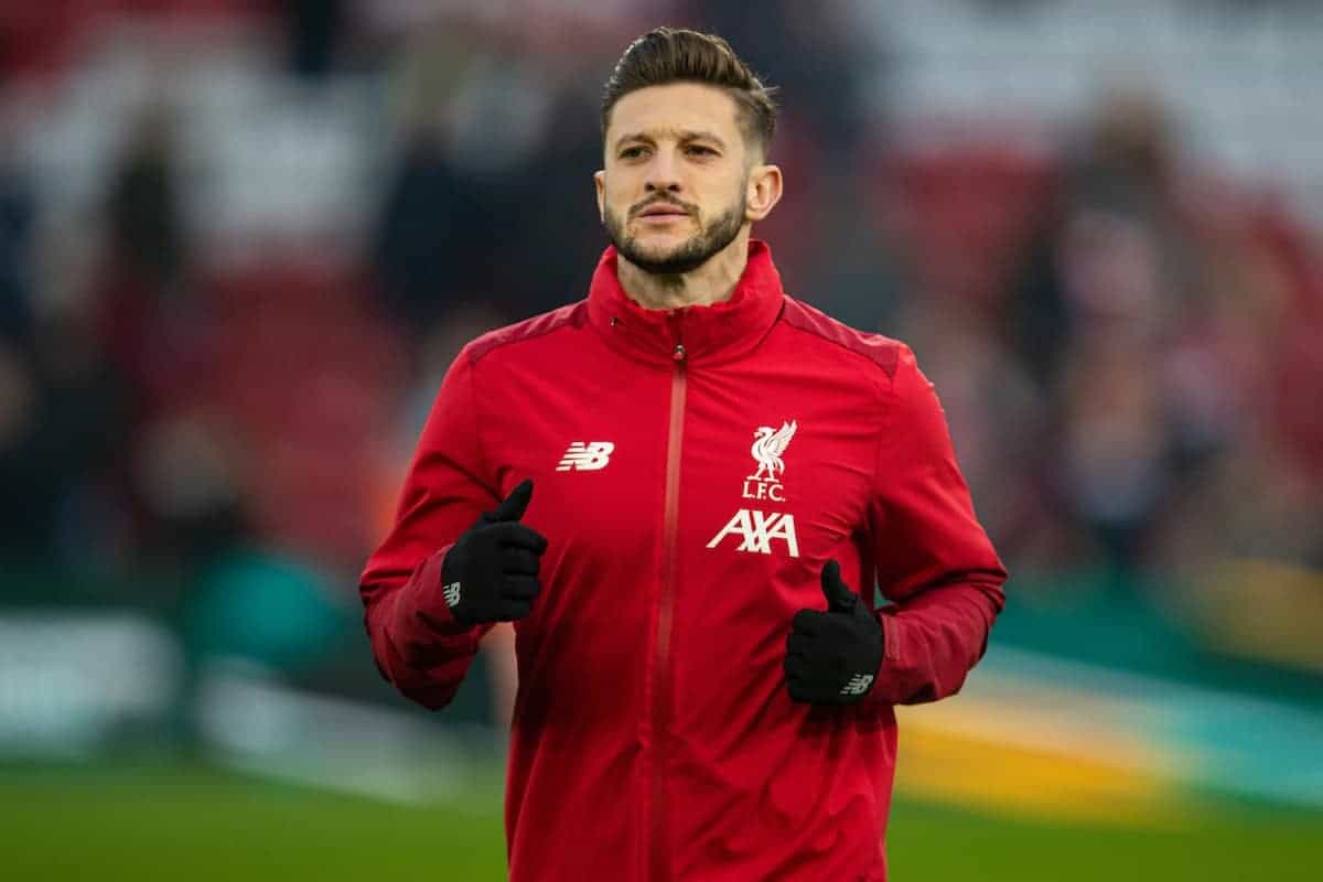 LIVERPOOL, ENGLAND - Sunday, January 19, 2020: Liverpool's Adam Lallana during the pre-match warm-up before the FA Premier League match between Liverpool FC and Manchester United FC at Anfield. (Pic by David Rawcliffe/Propaganda)