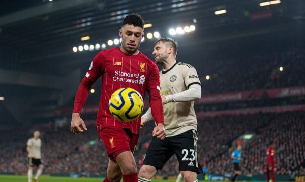 LIVERPOOL, ENGLAND - Sunday, January 19, 2020: Liverpool's Alex Oxlade-Chamberlain during the FA Premier League match between Liverpool FC and Manchester United FC at Anfield. (Pic by David Rawcliffe/Propaganda)