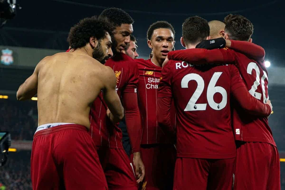 LIVERPOOL, ENGLAND - Sunday, January 19, 2020: Liverpool's Mohamed Salah (C) celebrates with team-mates after scoring the second goal during the FA Premier League match between Liverpool FC and Manchester United FC at Anfield. (Pic by David Rawcliffe/Propaganda)
