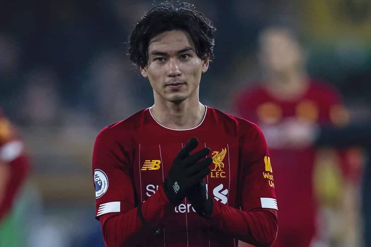 WOLVERHAMPTON, ENGLAND - Thursday, January 23, 2020: Liverpool's Takumi Minamino celebrates after the FA Premier League match between Wolverhampton Wanderers FC and Liverpool FC at Molineux Stadium. Liverpool won 2-1. (Pic by David Rawcliffe/Propaganda)