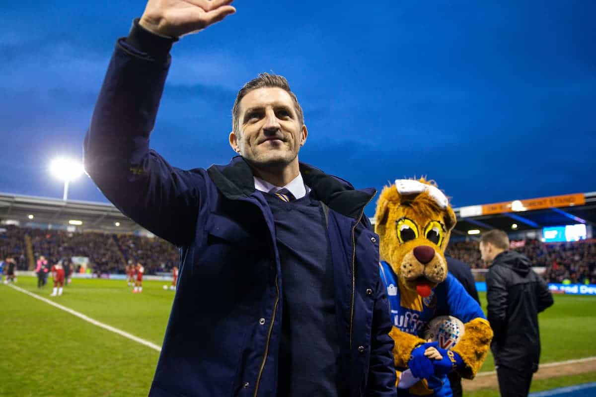 SHREWSBURY, ENGLAND - Sunday, January 26, 2020: Shrewsbury Town's manager Sam Ricketts before the FA Cup 4th Round match between Shrewsbury Town FC and Liverpool FC at the New Meadow. (Pic by David Rawcliffe/Propaganda)