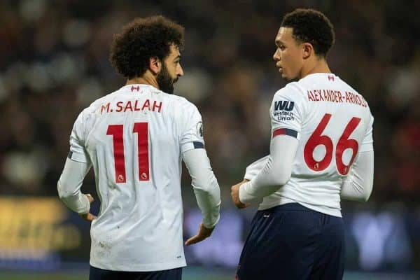 LONDON, ENGLAND - Wednesday, January 29, 2020: Liverpool's Mohamed Salah (L) and Trent Alexander-Arnold during the FA Premier League match between West Ham United FC and Liverpool FC at the London Stadium. (Pic by David Rawcliffe/Propaganda)