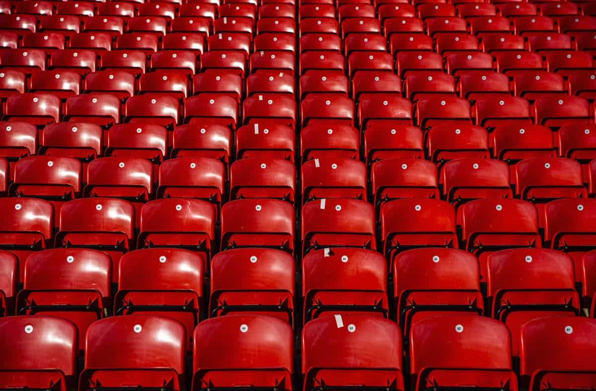 LIVERPOOL, ENGLAND - Saturday, February 1, 2020: Empty red seats pictured before the FA Premier League match between Liverpool FC and Southampton FC at Anfield. (Pic by David Rawcliffe/Propaganda)