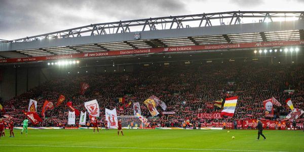 LIVERPOOL, ENGLAND - Saturday, February 1, 2020: Liverpool supporters on the Spion Kop before the FA Premier League match between Liverpool FC and Southampton FC at Anfield. (Pic by David Rawcliffe/Propaganda)