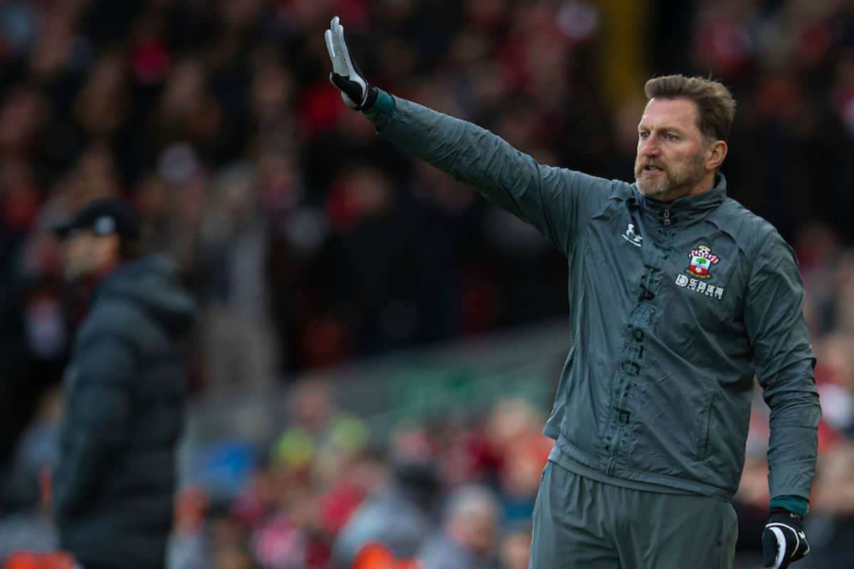 LIVERPOOL, ENGLAND - Saturday, February 1, 2020: Southampton's manager Ralph Hasenhüttl wearing gloves during the FA Premier League match between Liverpool FC and Southampton FC at Anfield. (Pic by David Rawcliffe/Propaganda)