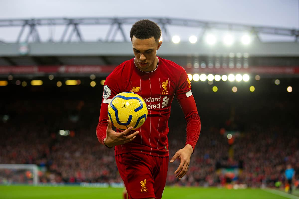 LIVERPOOL, ENGLAND - Saturday, February 1, 2020: Liverpool's Trent Alexander-Arnold carries the ball to take a corner-kick during the FA Premier League match between Liverpool FC and Southampton FC at Anfield. (Pic by David Rawcliffe/Propaganda)