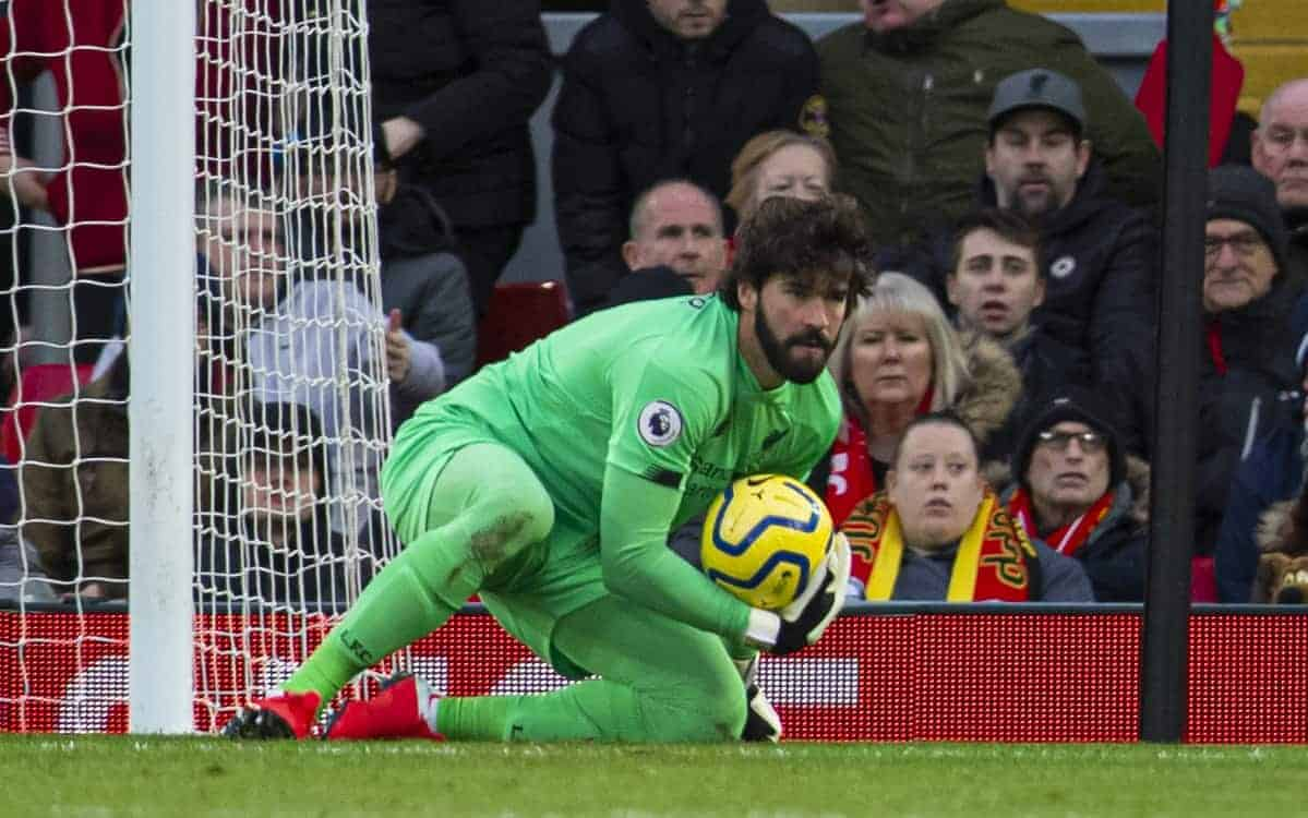LIVERPOOL, ENGLAND - Saturday, February 1, 2020: Liverpool's goalkeeper Alisson Becker during the FA Premier League match between Liverpool FC and Southampton FC at Anfield. (Pic by David Rawcliffe/Propaganda)