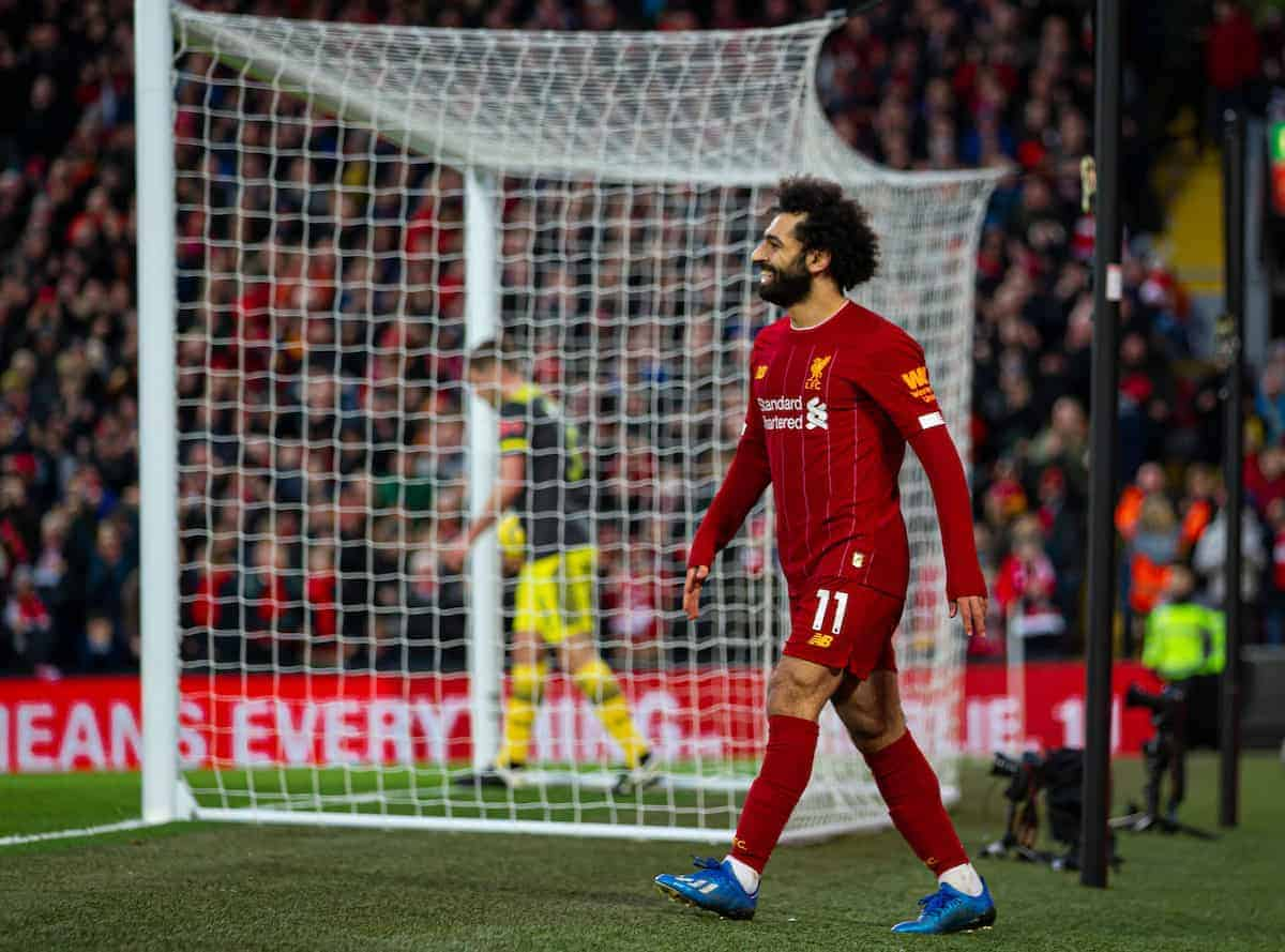 LIVERPOOL, ENGLAND - Saturday, February 1, 2020: Liverpool's Mohamed Salah celebrates scoring the third goal during the FA Premier League match between Liverpool FC and Southampton FC at Anfield. (Pic by David Rawcliffe/Propaganda)