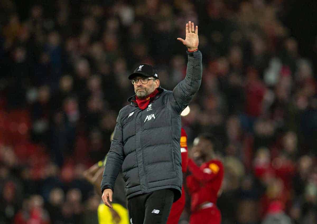 LIVERPOOL, ENGLAND - Saturday, February 1, 2020: Liverpool's manager Jürgen Klopp celebrates after the FA Premier League match between Liverpool FC and Southampton FC at Anfield. Liverpool won 4-0. (Pic by David Rawcliffe/Propaganda)