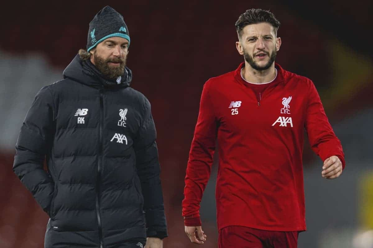 LIVERPOOL, ENGLAND - Saturday, February 1, 2020: Liverpool's substitute Adam Lallana warms down with head of fitness and conditioning Andreas Kornmayer after the FA Premier League match between Liverpool FC and Southampton FC at Anfield. (Pic by David Rawcliffe/Propaganda)