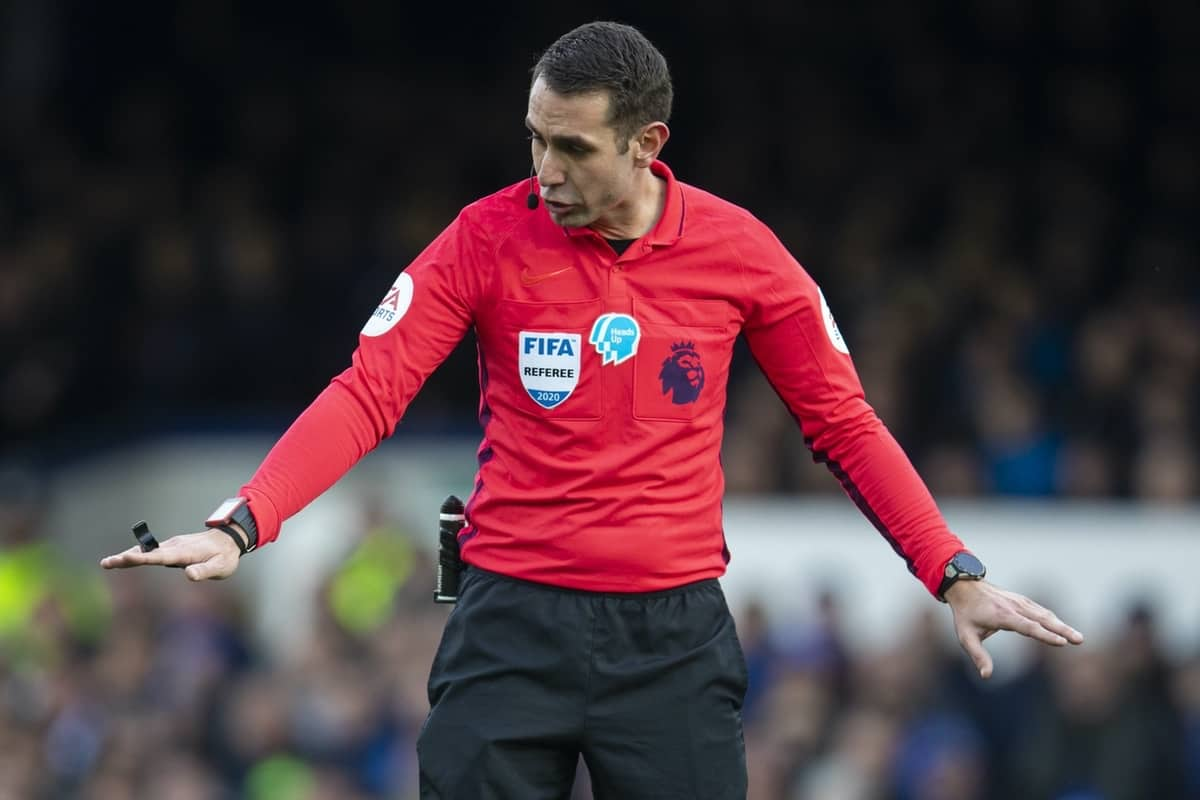 LIVERPOOL, ENGLAND - Saturday, February 8, 2020: Referee David Coote during the FA Premier League match between Everton FC and Crystal Palace FC at Goodison Park. (Pic by David Rawcliffe/Propaganda)