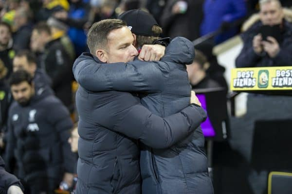 NORWICH, ENGLAND - Saturday, February 15, 2020: Liverpool's manager Jürgen Klopp (R) embraces first-team development coach Pepijn Lijnders before the FA Premier League match between Norwich City FC and Liverpool FC at Carrow Road. (Pic by David Rawcliffe/Propaganda)