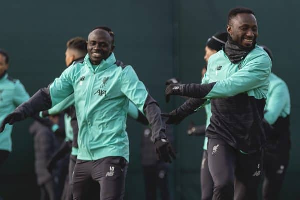 LIVERPOOL, ENGLAND - Monday, February 17, 2020: Liverpool's Sadio Mané (L) and Naby Keita during a training session at Melwood Training Ground ahead of the UEFA Champions League Round of 16 1st Leg match between Club Atlético de Madrid and Liverpool FC. (Pic by Paul Greenwood/Propaganda)