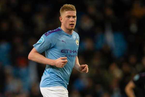 MANCHESTER, ENGLAND - Wednesday, February 19, 2020: Manchester City's Kevin De Bruyne during the FA Premier League match between Manchester City FC and West Ham United FC at the City of Manchester Stadium. (Pic by David Rawcliffe/Propaganda)