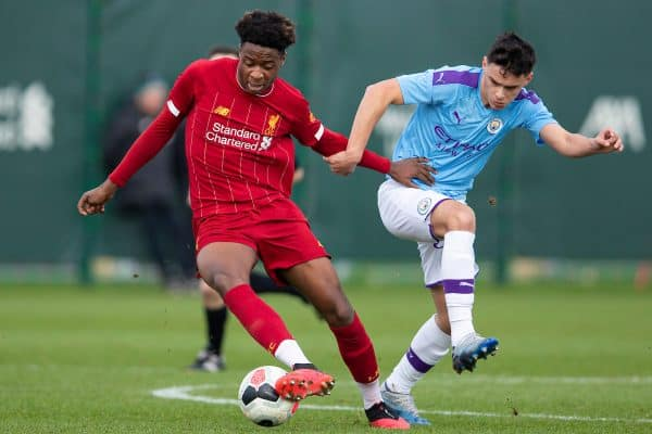 LIVERPOOL, ENGLAND - Saturday, February 22, 2020: Liverpool's James Balagizi (L) and Manchester City's Alex Robertson during the Under-18 FA Premier League match between Liverpool FC and Manchester City FC at the Liverpool Academy. (Pic by David Rawcliffe/Propaganda)