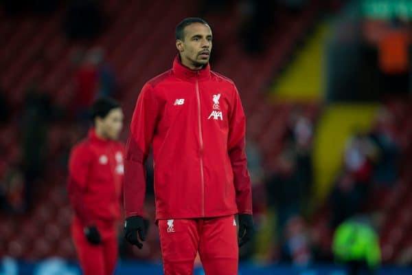 Liverpool's substitute Joel Matip during the pre-match warm-up before the FA Premier League match between Liverpool FC and West Ham United FC at Anfield. (Pic by David Rawcliffe/Propaganda)