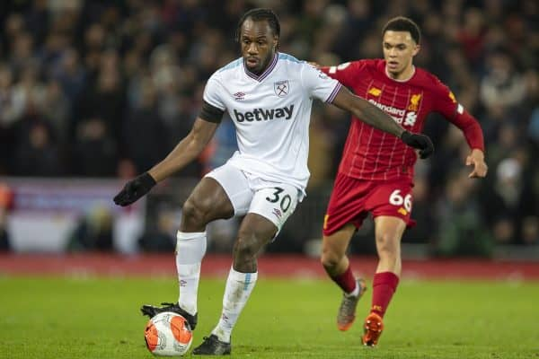 LIVERPOOL, ENGLAND - Monday, February 24, 2020: West Ham United's Michail Antonio during the FA Premier League match between Liverpool FC and West Ham United FC at Anfield. (Pic by David Rawcliffe/Propaganda)