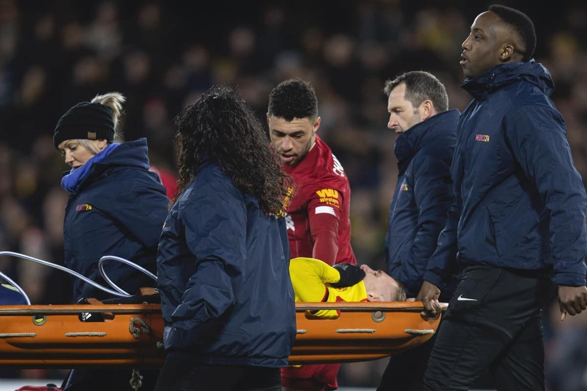 WATFORD, ENGLAND - Saturday, February 29, 2020: Watford's Gerard Deulofeu is carried off injured on a stretcher during the FA Premier League match between Watford FC and Liverpool FC at Vicarage Road. (Pic by David Rawcliffe/Propaganda)