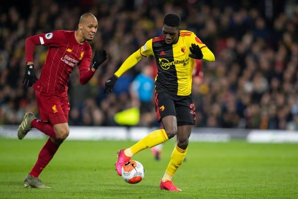 WATFORD, ENGLAND - Saturday, February 29, 2020: Watford's Ismaïla Sarr (R) gets away from Liverpool's Fabio Henrique Tavares 'Fabinho' during the FA Premier League match between Watford FC and Liverpool FC at Vicarage Road. (Pic by David Rawcliffe/Propaganda)