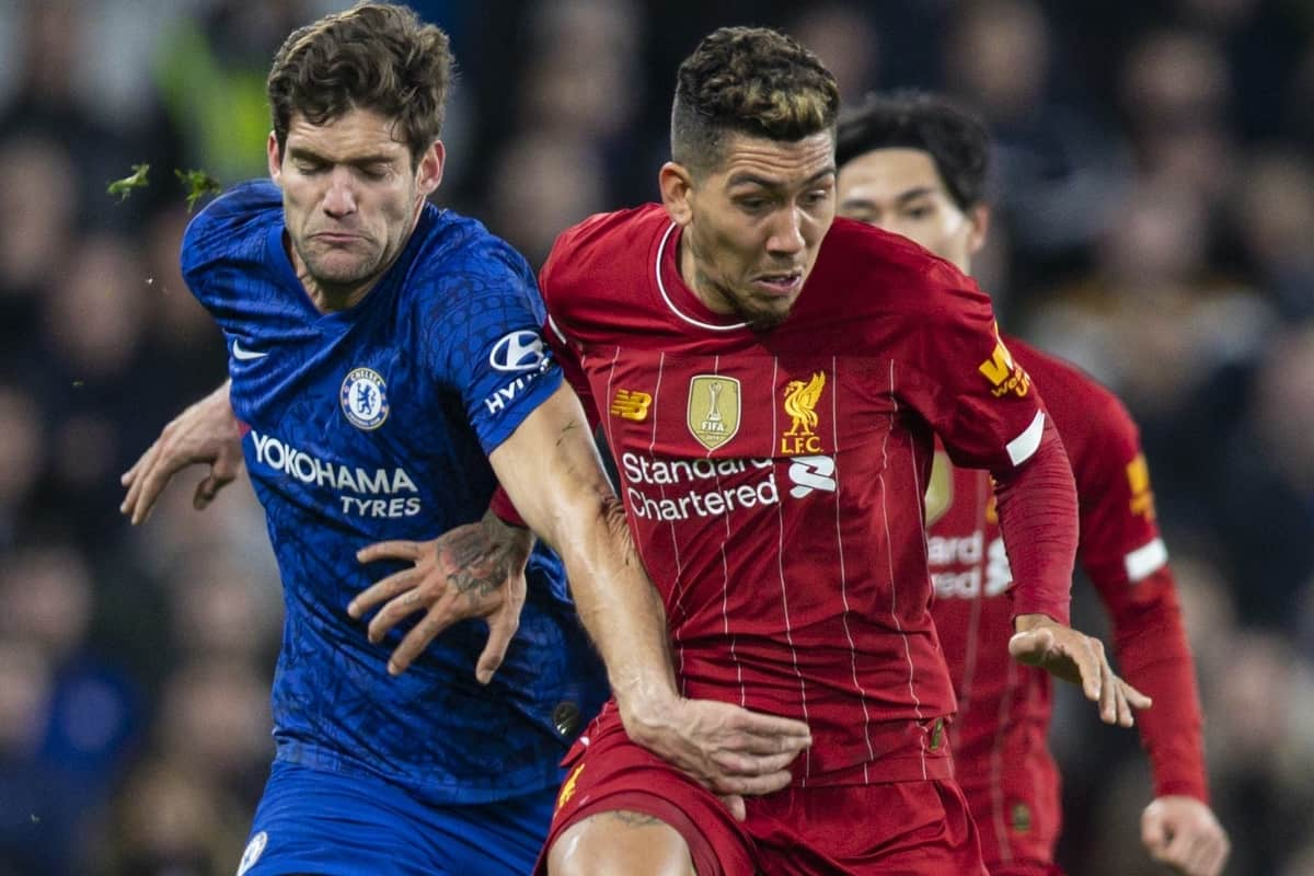 LONDON, ENGLAND - Tuesday, March 3, 2020: Chelsea's Marcos Alonso (L) and Liverpool's Roberto Firmino during the FA Cup 5th Round match between Chelsea FC and Liverpool FC at Stamford Bridge. (Pic by David Rawcliffe/Propaganda)