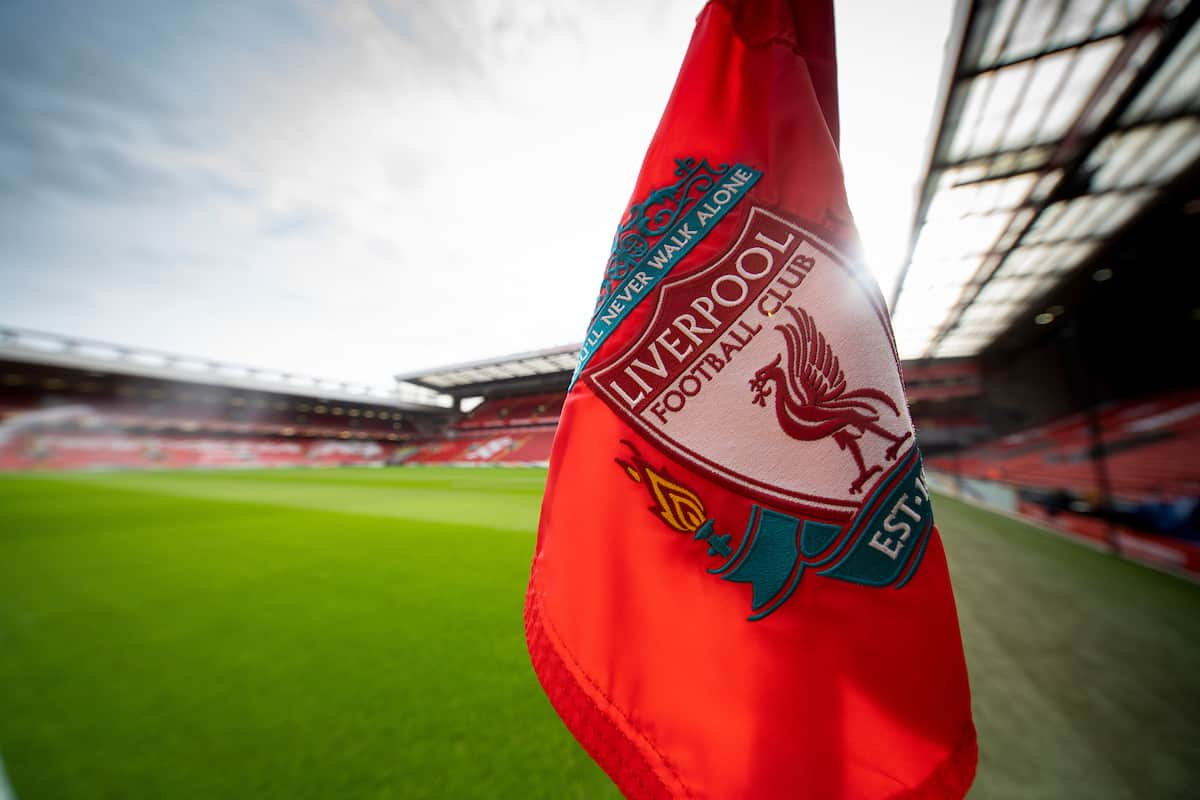 LIVERPOOL, ENGLAND - Saturday, March 7, 2020: A corner flag pictured before the FA Premier League match between Liverpool FC and AFC Bournemouth at Anfield. (Pic by David Rawcliffe/Propaganda)