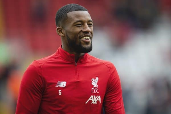 LIVERPOOL, ENGLAND - Saturday, March 7, 2020: Liverpool's Georginio Wijnaldum during the pre-match warm-up before the FA Premier League match between Liverpool FC and AFC Bournemouth at Anfield. (Pic by David Rawcliffe/Propaganda)