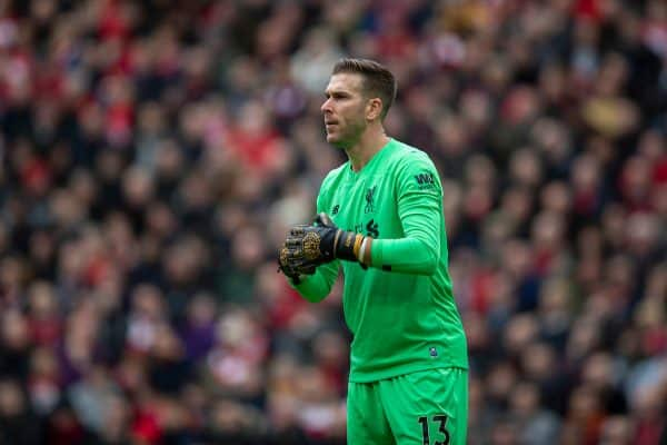 LIVERPOOL, ENGLAND - Saturday, March 7, 2020: Liverpool's goalkeeper Adrián San Miguel del Castillo during the FA Premier League match between Liverpool FC and AFC Bournemouth at Anfield. (Pic by David Rawcliffe/Propaganda)