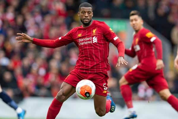 Liverpool's Georginio Wijnaldum during the FA Premier League match between Liverpool FC and AFC Bournemouth at Anfield. (Pic by David Rawcliffe/Propaganda)