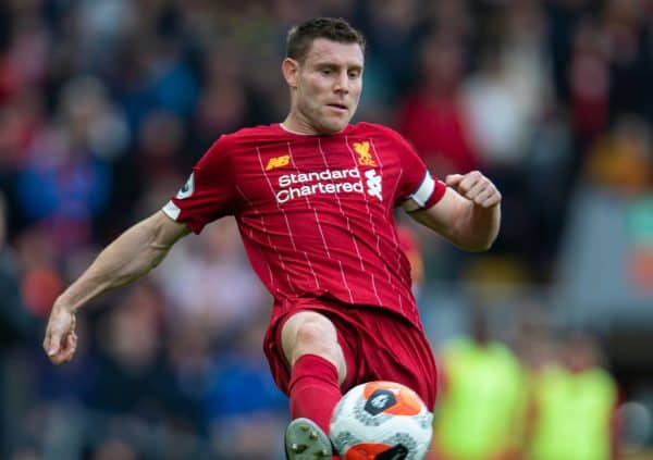 LIVERPOOL, ENGLAND - Saturday, March 7, 2020: Liverpool's James Milner during the FA Premier League match between Liverpool FC and AFC Bournemouth at Anfield. (Pic by David Rawcliffe/Propaganda)