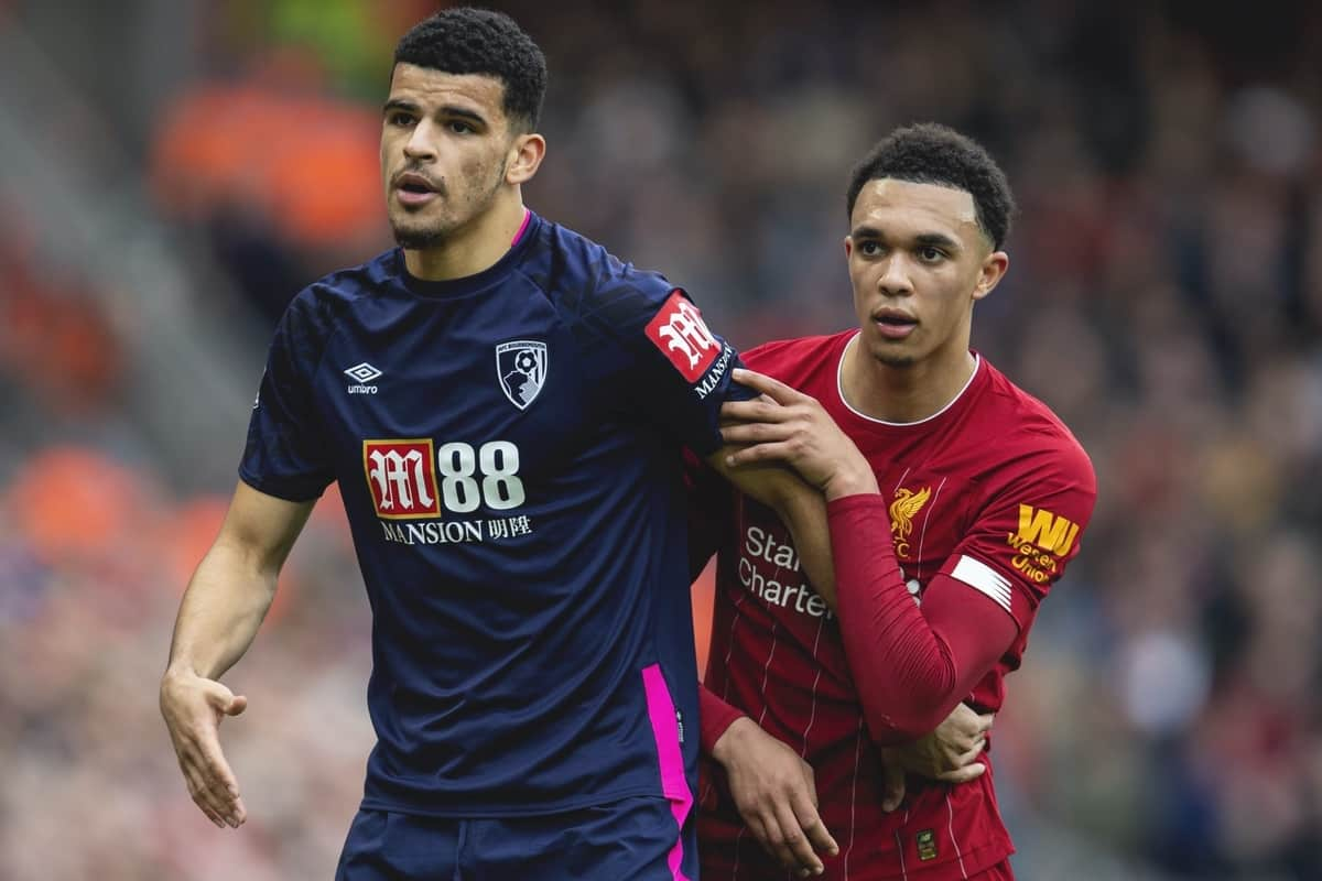 LIVERPOOL, ENGLAND - Saturday, March 7, 2020: Liverpool's Trent Alexander-Arnold (R) and AFC Bournemouth's Dominic Solanke during the FA Premier League match between Liverpool FC and AFC Bournemouth at Anfield. (Pic by David Rawcliffe/Propaganda)