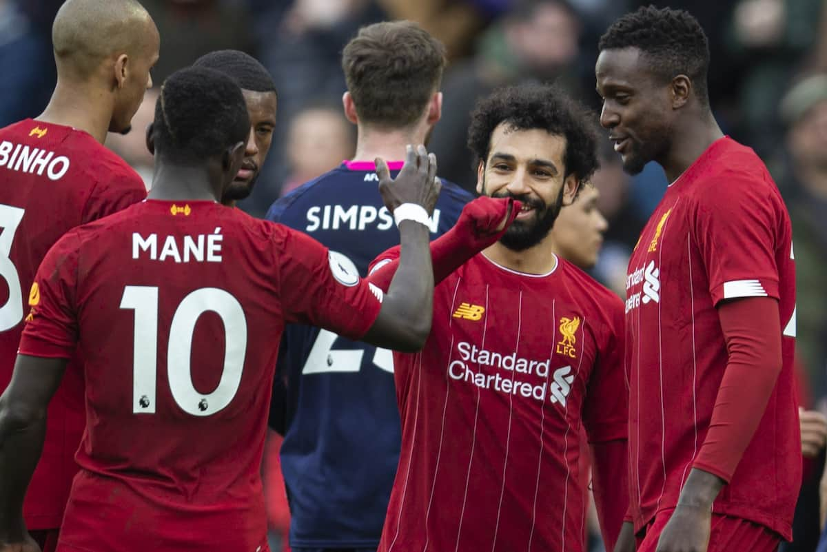 LIVERPOOL, ENGLAND - Saturday, March 7, 2020: Liverpool's goal-scorers Mohamed Salah and Sadio Mané after the FA Premier League match between Liverpool FC and AFC Bournemouth at Anfield. Liverpool won 2-1. (Pic by David Rawcliffe/Propaganda)