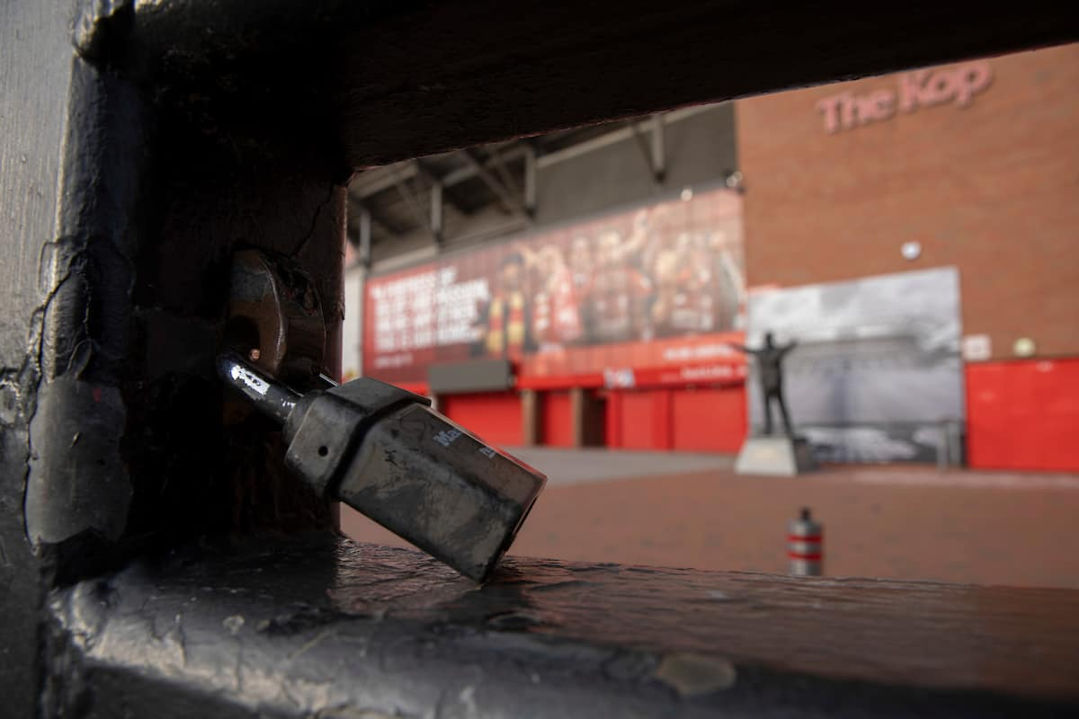 Anfield, locked due to Coronavirus (Pic by David Rawcliffe/Propaganda)