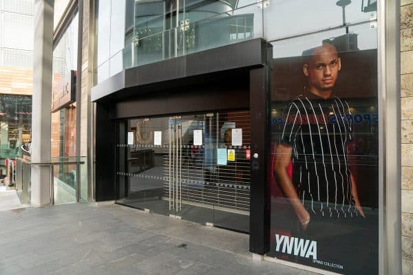 Liverpool Football Club's retail store at Liverpool One is closed due to the Coronavirus (COVID-19). (Pic by David Rawcliffe/Propaganda)