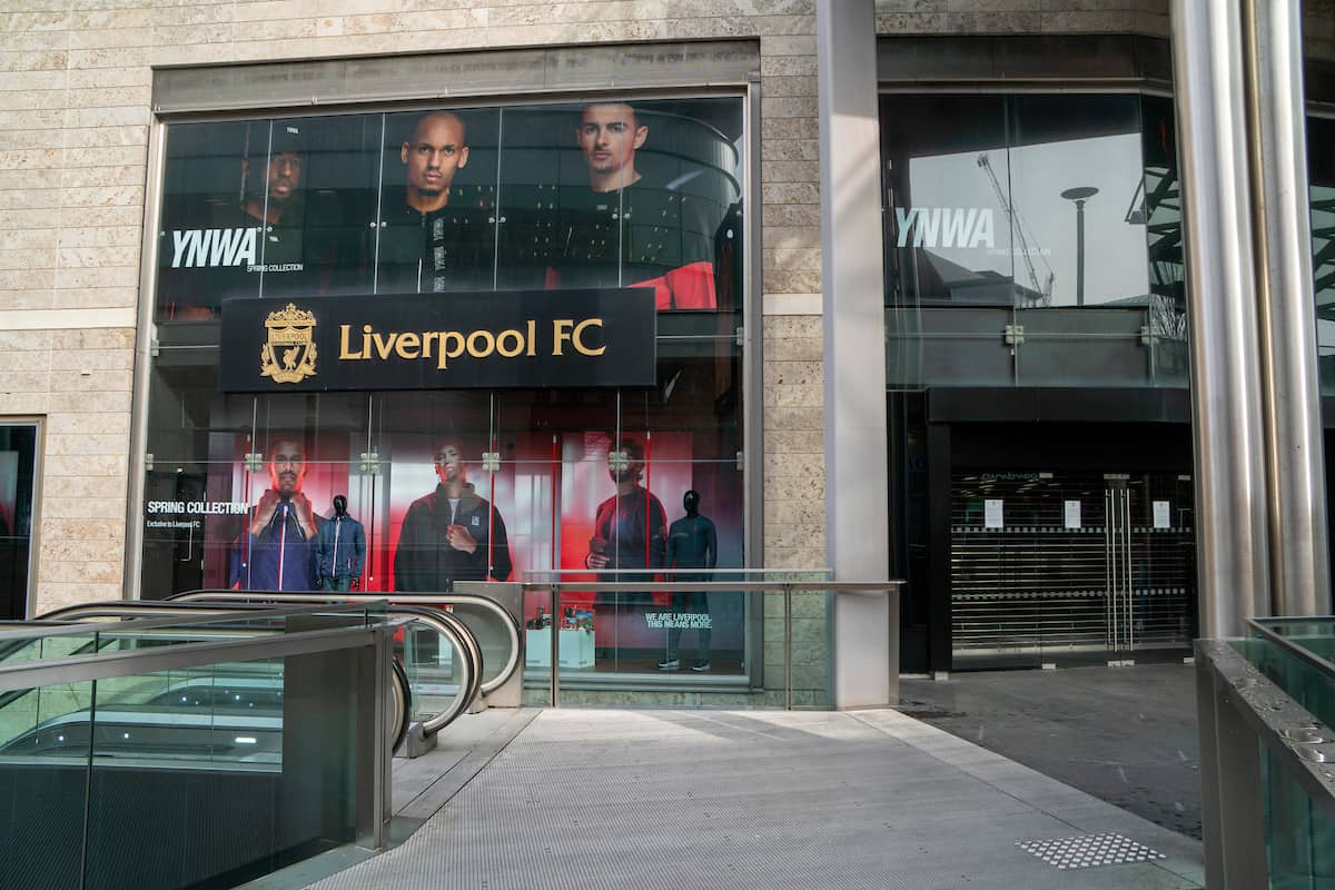 LIVERPOOL, ENGLAND - Wednesday, March 18, 2020: Liverpool Football Club's retail store at Liverpool One is closed due to the Coronavirus (COVID-19). (Pic by David Rawcliffe/Propaganda)