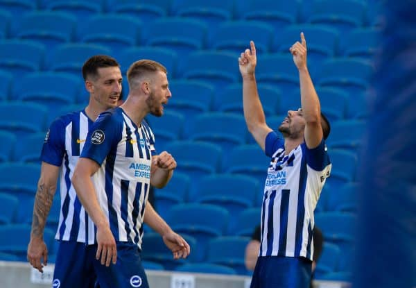 BRIGHTON & HOVE, ENGLAND - Saturday, June 20, 2020: Brighton & Hove Albion's Neal Maupay (R) celebrates scoring the winning second goal in injury time during the FA Premier League match between Brighton & Hove Albion FC and Arsenal FC at the AMEX Stadium. Brighton won 2-1. (Pic by David Rawcliffe/Propaganda)