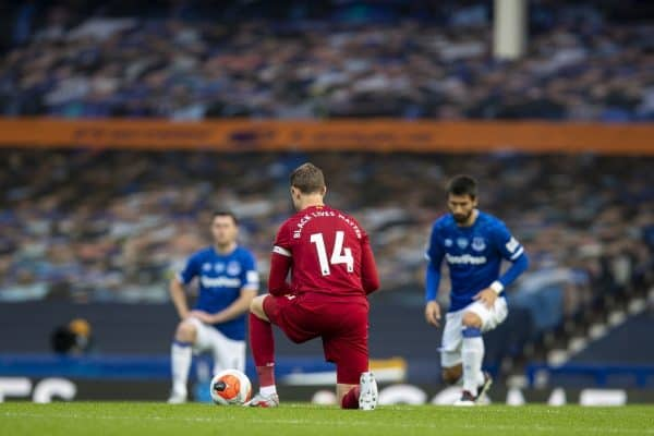 LIVERPOOL, ENGLAND - Sunday, June 21, 2019: Liverpool's captain Jordan Henderson knees down (takes a knee) to support the Black Lives Matter movement during the FA Premier League match between Everton FC and Liverpool FC, the 236th Merseyside Derby, at Goodison Park. The game was played behind closed doors due to the UK government's social distancing laws during the Coronavirus COVID-19 Pandemic. (Pic by David Rawcliffe/Propaganda)