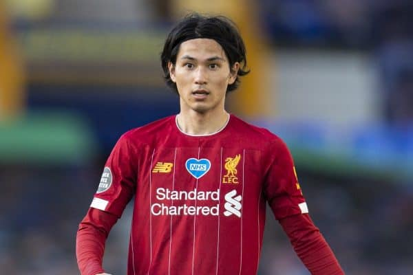 LIVERPOOL, ENGLAND - Sunday, June 21, 2019: Liverpool's Takumi Minamino during the FA Premier League match between Everton FC and Liverpool FC, the 236th Merseyside Derby, at Goodison Park. The game was played behind closed doors due to the UK government's social distancing laws during the Coronavirus COVID-19 Pandemic. (Pic by David Rawcliffe/Propaganda)
