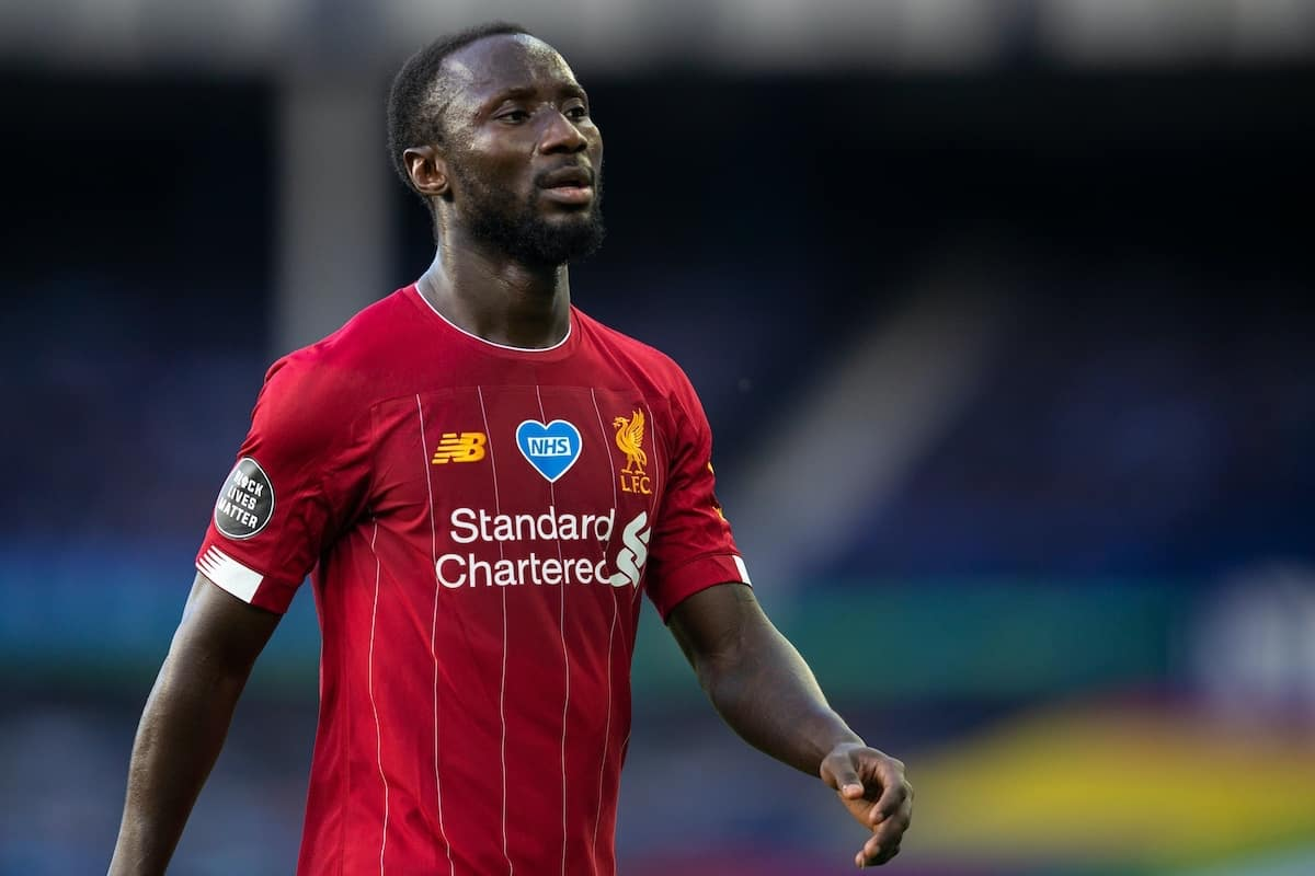 LIVERPOOL, ENGLAND - Sunday, June 21, 2019: Liverpool's Naby Keita walks off the pitch at half-time during the FA Premier League match between Everton FC and Liverpool FC, the 236th Merseyside Derby, at Goodison Park. The game was played behind closed doors due to the UK government's social distancing laws during the Coronavirus COVID-19 Pandemic. (Pic by David Rawcliffe/Propaganda)