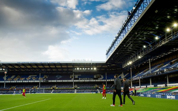 LIVERPOOL, ENGLAND - Sunday, June 21, 2019: Liverpool's manager Jürgen Klopp walks into an empty stadium during the FA Premier League match between Everton FC and Liverpool FC, the 236th Merseyside Derby, at Goodison Park. The game was played behind closed doors due to the UK government's social distancing laws during the Coronavirus COVID-19 Pandemic. (Pic by David Rawcliffe/Propaganda)