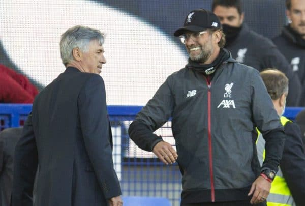 LIVERPOOL, ENGLAND - Sunday, June 21, 2019: Liverpool's manager Jürgen Klopp (R) and Everton's manager Carlo Ancelotti after the FA Premier League match between Everton FC and Liverpool FC, the 236th Merseyside Derby, at Goodison Park. The game was played behind closed doors due to the UK government's social distancing laws during the Coronavirus COVID-19 Pandemic. The game ended in a 0-0 draw. (Pic by David Rawcliffe/Propaganda)