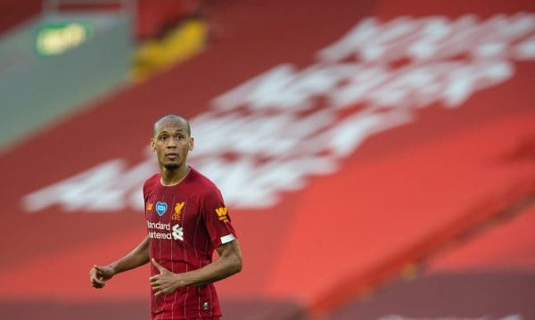 LIVERPOOL, ENGLAND - Wednesday, June 24, 2020: Liverpool's Fabio Henrique Tavares 'Fabinho' during the FA Premier League match between Liverpool FC and Crystal Palace FC at Anfield. The game was played behind closed doors due to the UK government's social distancing laws during the Coronavirus COVID-19 Pandemic. (Pic by David Rawcliffe/Propaganda)
