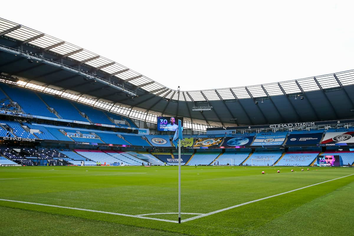 MANCHESTER, ENGLAND - Thursday, July 2, 2020: Empty seats before the FA Premier League match between Manchester City FC and Liverpool FC at the City of Manchester Stadium. The game was played behind closed doors due to the UK government's social distancing laws during the Coronavirus COVID-19 Pandemic. This was Liverpool's first game as Premier League 2019/20 Champions. (Pic by Propaganda)