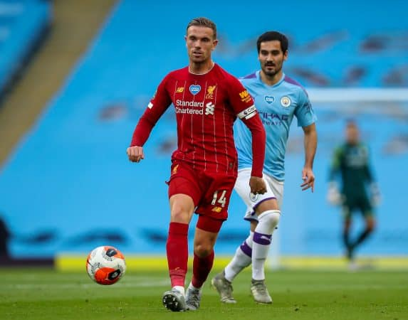 MANCHESTER, ENGLAND - Thursday, July 2, 2020: Liverpool's captain Jordan Henderson during the FA Premier League match between Manchester City FC and Liverpool FC at the City of Manchester Stadium. The game was played behind closed doors due to the UK government's social distancing laws during the Coronavirus COVID-19 Pandemic. This was Liverpool's first game as Premier League 2019/20 Champions. (Pic by Propaganda)
