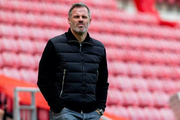 LIVERPOOL, ENGLAND - Sunday, July 5, 2020: Former Liverpool player Jamie Carragher, working for Sky Sports, before the FA Premier League match between Liverpool FC and Aston Villa FC at Anfield. The game was played behind closed doors due to the UK government's social distancing laws during the Coronavirus COVID-19 Pandemic. (Pic by David Rawcliffe/Propaganda)