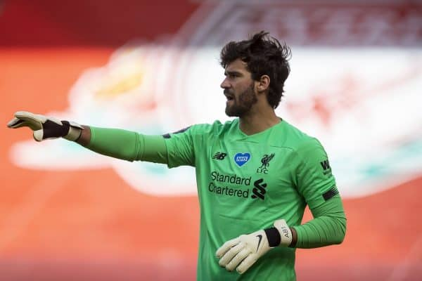 LIVERPOOL, ENGLAND - Sunday, July 5, 2020: Liverpool's goalkeeper Alisson Becker during the FA Premier League match between Liverpool FC and Aston Villa FC at Anfield. The game was played behind closed doors due to the UK government's social distancing laws during the Coronavirus COVID-19 Pandemic. (Pic by David Rawcliffe/Propaganda)