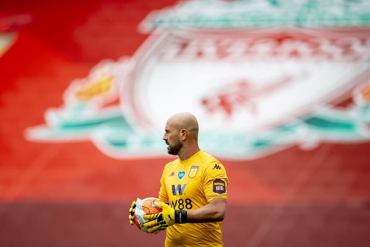 LIVERPOOL, ENGLAND - Sunday, July 5, 2020: Aston Villa's goalkeeper Pepe Reina during the FA Premier League match between Liverpool FC and Aston Villa FC at Anfield. The game was played behind closed doors due to the UK government's social distancing laws during the Coronavirus COVID-19 Pandemic. (Pic by David Rawcliffe/Propaganda)