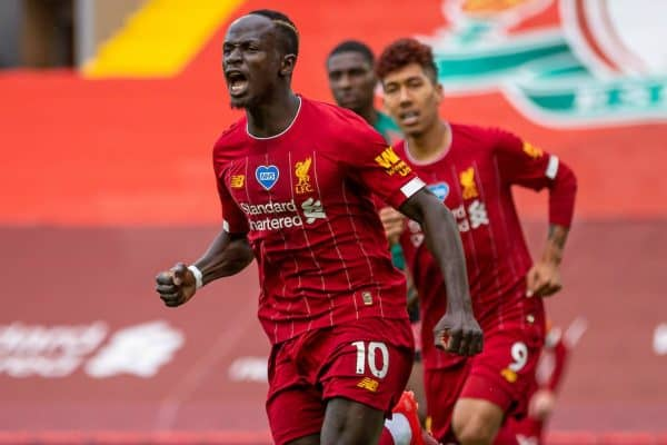 LIVERPOOL, ENGLAND - Sunday, July 5, 2020: Liverpool's Sadio Mané celebrates scoring the first goal during the FA Premier League match between Liverpool FC and Aston Villa FC at Anfield. The game was played behind closed doors due to the UK government's social distancing laws during the Coronavirus COVID-19 Pandemic. (Pic by David Rawcliffe/Propaganda)